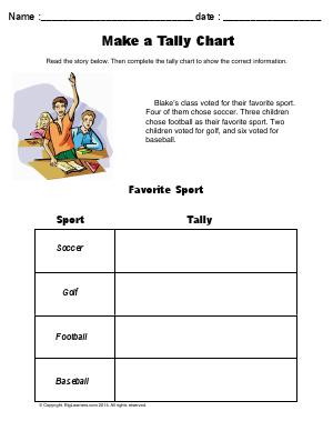 Preview image for worksheet with title Make a Tally Chart ( Favorite Sport )
