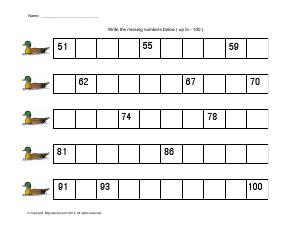 Preview image for worksheet with title Write the Missing Numbers (51 - 100)