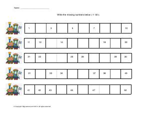 Preview image for worksheet with title Write the Missing Numbers ( 1- 50 )