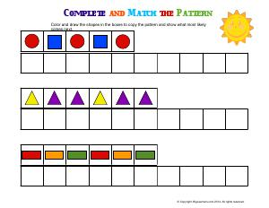 copy and extend patterns preschool and kindergarten math worksheets biglearners. Black Bedroom Furniture Sets. Home Design Ideas