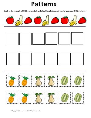 Preview image for worksheet with title Patterns ( Fruits Theme )