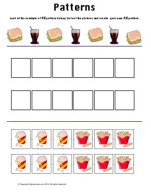 Preview image for worksheet with title Patterns ( Food Theme )