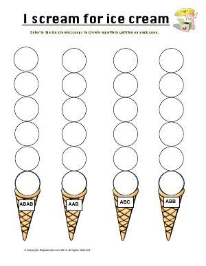 Preview image for worksheet with title I Scream for Ice Cream