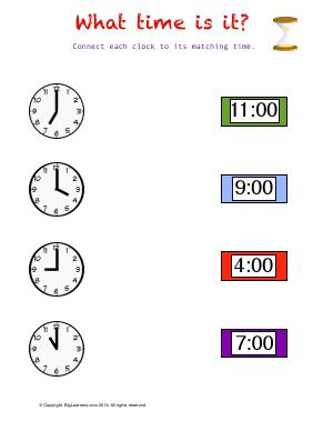 Preview image for worksheet with title What Time Is It ?