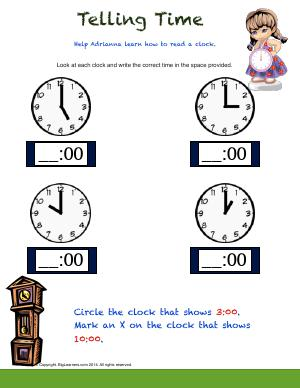 Preview image for worksheet with title Telling Time