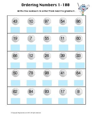 Preview image for worksheet with title Ordering Numbers 1 -100