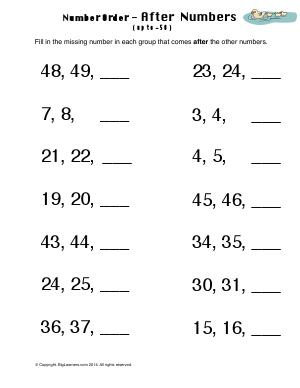 Preview image for worksheet with title Number Order - After Numbers