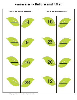 Preview image for worksheet with title Number Order - Before and After