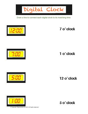 Preview image for worksheet with title Digital Clock