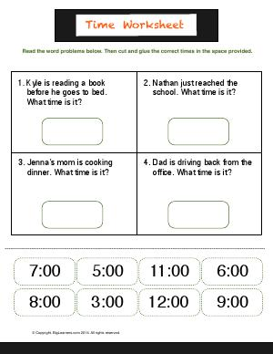 Preview image for worksheet with title Time Worksheet