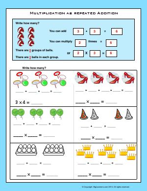 Preview image for worksheet with title Multiplication as Repeated Addition