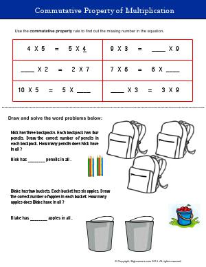 Preview image for worksheet with title Commutative Property of Multiplication