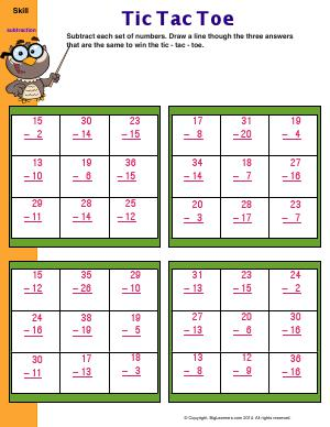 Preview image for worksheet with title Tic Tac Toe