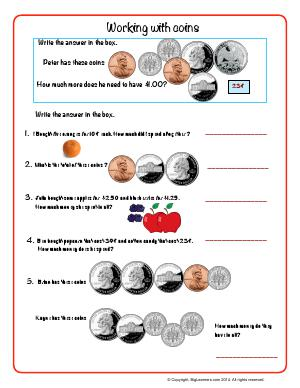 Preview image for worksheet with title Working With Coins