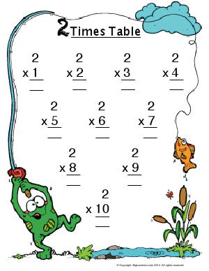 Preview image for worksheet with title 2 Times Table