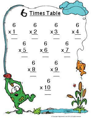 Preview image for worksheet with title 6 Times Table