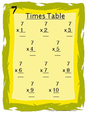 Preview image for worksheet with title 7 Times Table