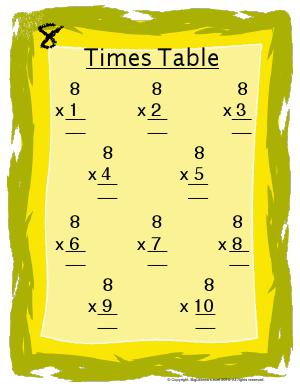 Preview image for worksheet with title 8 Times Table