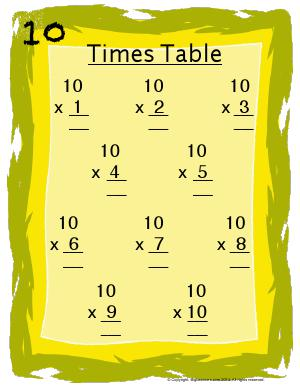 Preview image for worksheet with title 10 Times Table