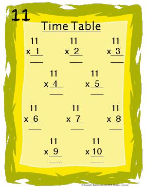 Preview image for worksheet with title 11 Times Table