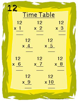 Preview image for worksheet with title 12 Times Table