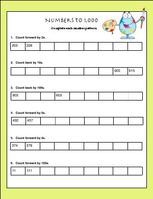 Preview image for worksheet with title Numbers to 1,000