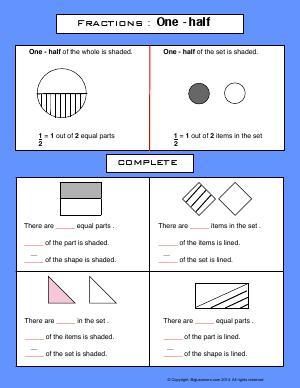 Preview image for worksheet with title Fractions : One Half