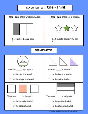 Preview image for worksheet with title Fractions : One Third