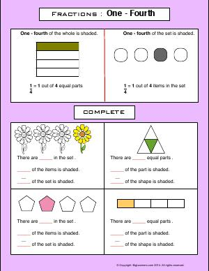 Preview image for worksheet with title Fractions : One - Fourth