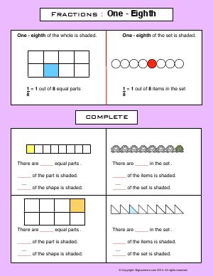 Preview image for worksheet with title Fractions : One - Eighth