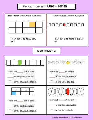 Preview image for worksheet with title Fractions : One - Tenth