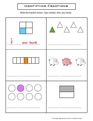 Preview image for worksheet with title Identifying Fractions