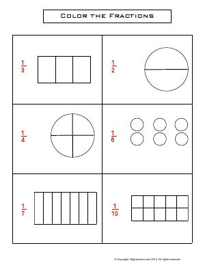Preview image for worksheet with title Color the Fractions