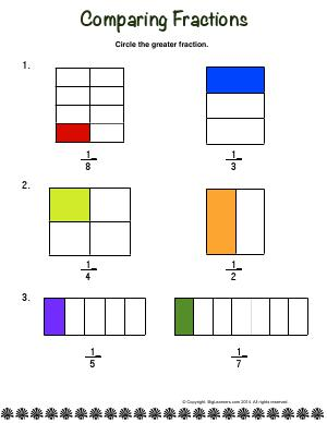Preview image for worksheet with title Comparing Fractions