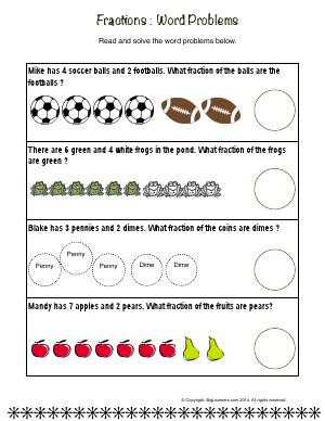 Preview image for worksheet with title Fractions : Word Problems