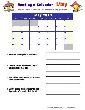 Preview image for worksheet with title Reading a Calendar - May