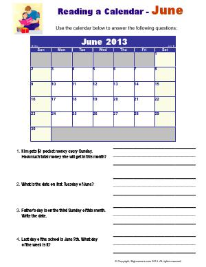 Preview image for worksheet with title Reading a Calendar - June