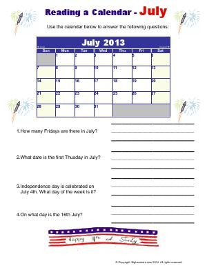 Preview image for worksheet with title Raeding Calendar - July