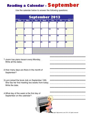 Preview image for worksheet with title Reading a Calendar - September