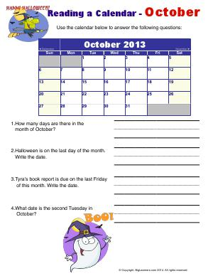 Preview image for worksheet with title Reading a Calendar - October