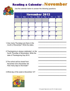 Preview image for worksheet with title Reading a Calendar - November
