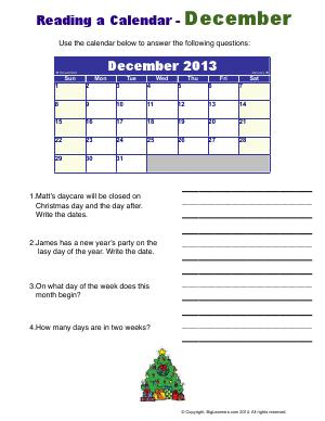 Preview image for worksheet with title Reading a Calendar - December