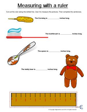 Preview image for worksheet with title Measuring With a Ruler