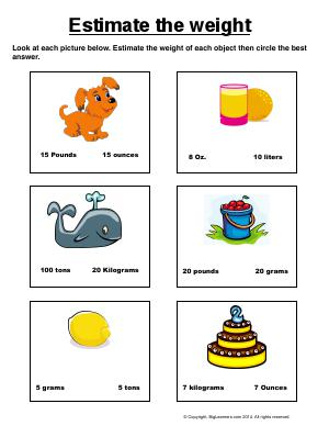 Preview image for worksheet with title Estimate the Weight