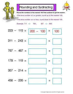 Preview image for worksheet with title Rounding and Subtracting