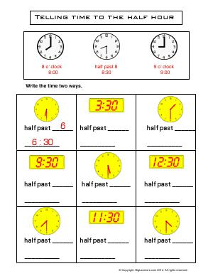Preview image for worksheet with title Telling Time to the Half Hour