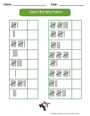 Preview image for worksheet with title Count the Tally Marks