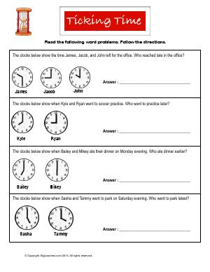 Preview image for worksheet with title Ticking Time