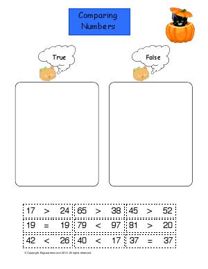Preview image for worksheet with title Comparing Numbers