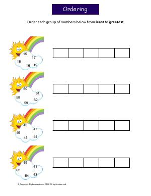 Preview image for worksheet with title Ordering